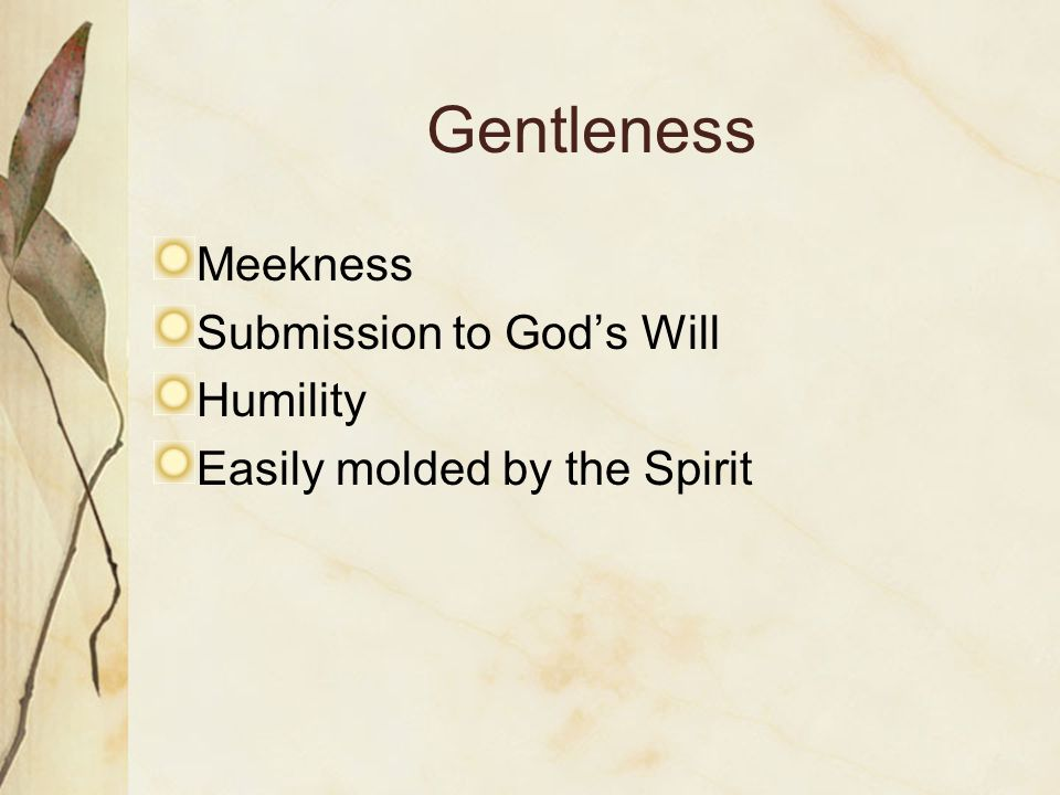 Gentleness Meekness Submission to Gods Will Humility Easily molded by the Spirit