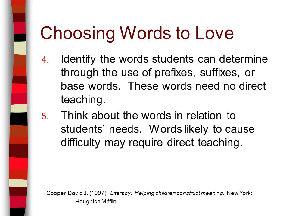 Choosing Words to Love 4.