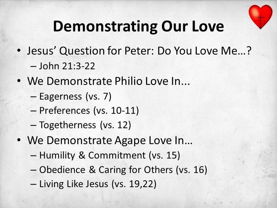 Demonstrating Our Love Jesus Question for Peter: Do You Love Me….