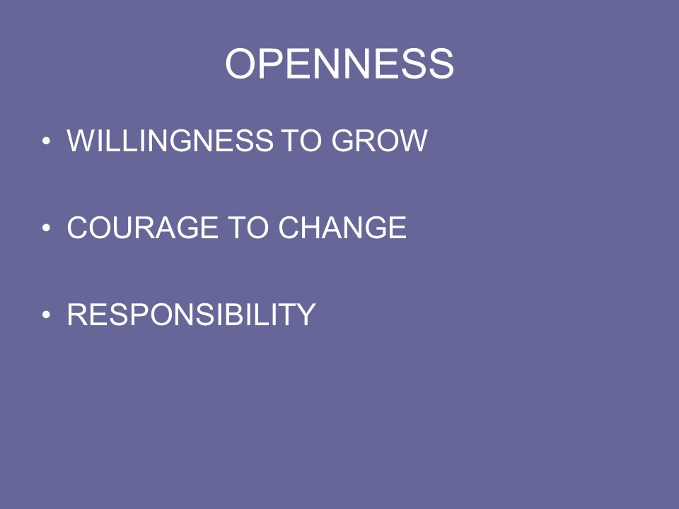 OPENNESS WILLINGNESS TO GROW COURAGE TO CHANGE RESPONSIBILITY