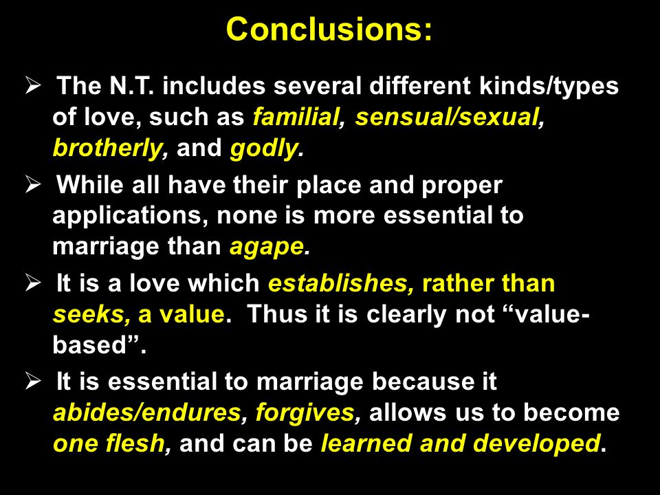 Conclusions: The N.T.