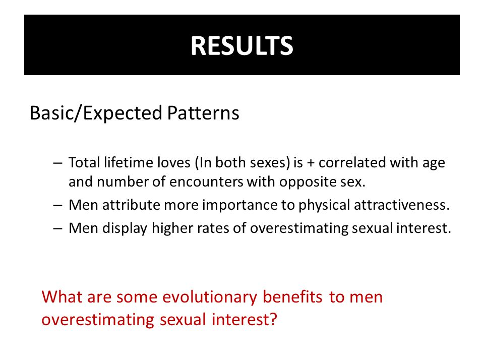 Basic/Expected Patterns – Total lifetime loves (In both sexes) is + correlated with age and number of encounters with opposite sex.