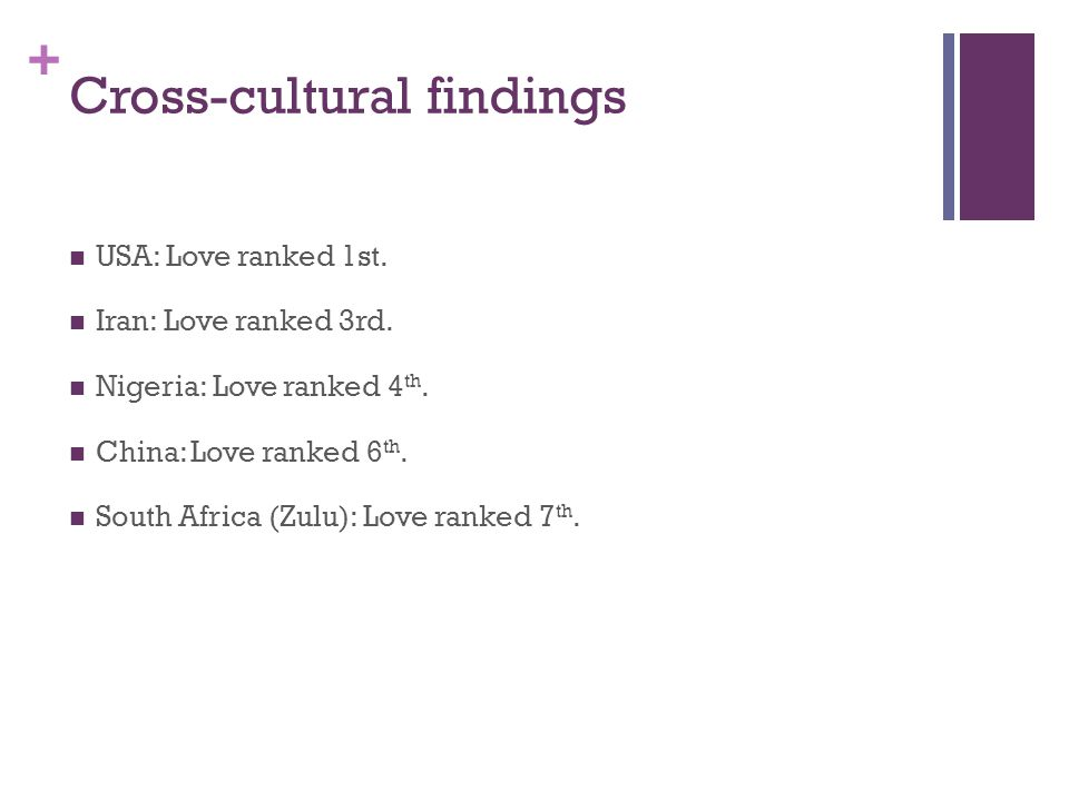 + Cross-cultural findings USA: Love ranked 1st. Iran: Love ranked 3rd.