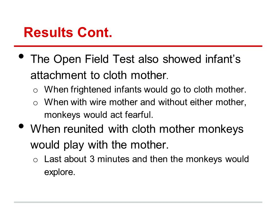 Results Cont. The Open Field Test also showed infants attachment to cloth mother.