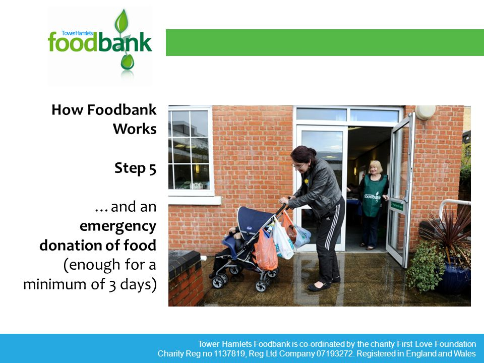 Tower Hamlets Foodbank is co-ordinated by the charity First Love Foundation Charity Reg no 1137819, Reg Ltd Company 07193272.