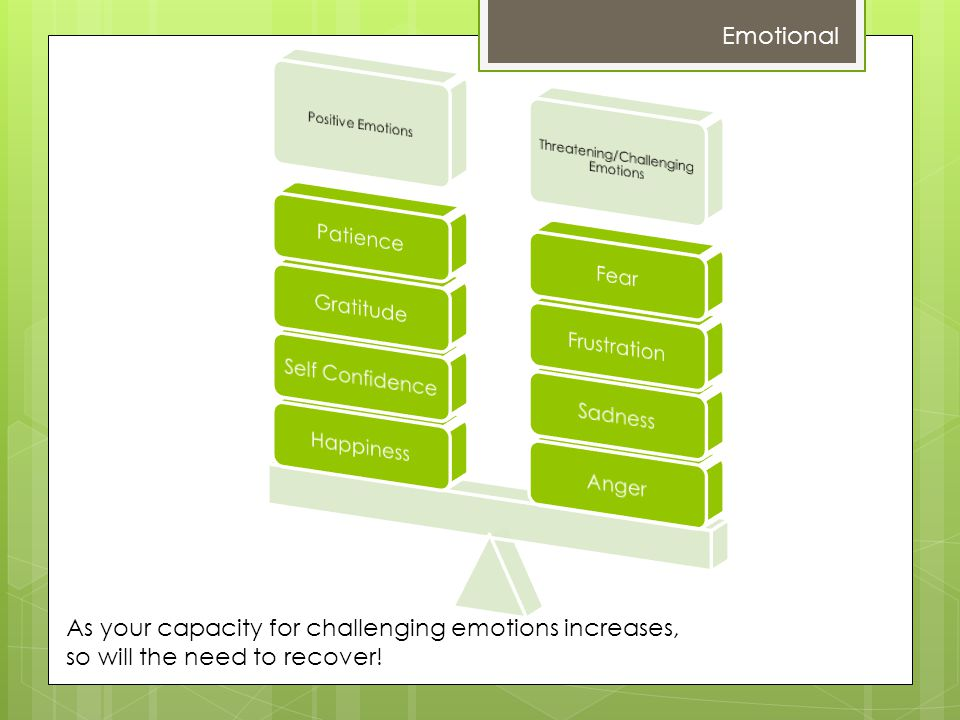 Emotional As your capacity for challenging emotions increases, so will the need to recover!