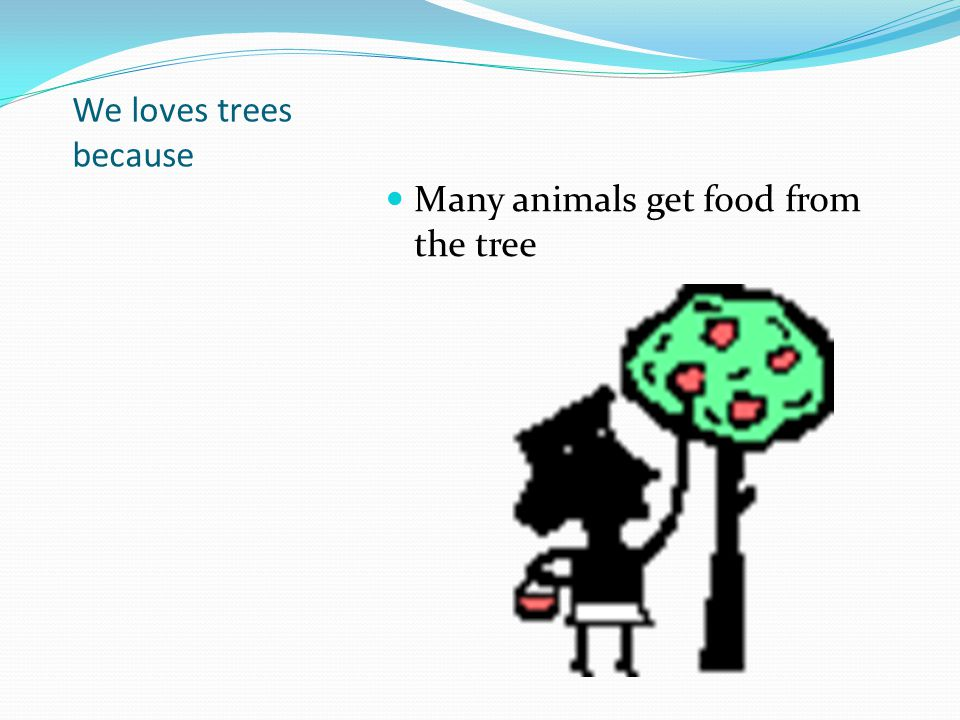 We loves trees because Many animals get food from the tree