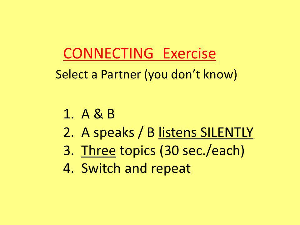 CONNECTING Exercise Select a Partner (you dont know) 1.