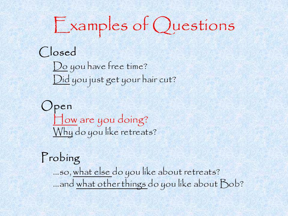 Examples of Questions Closed Do you have free time.