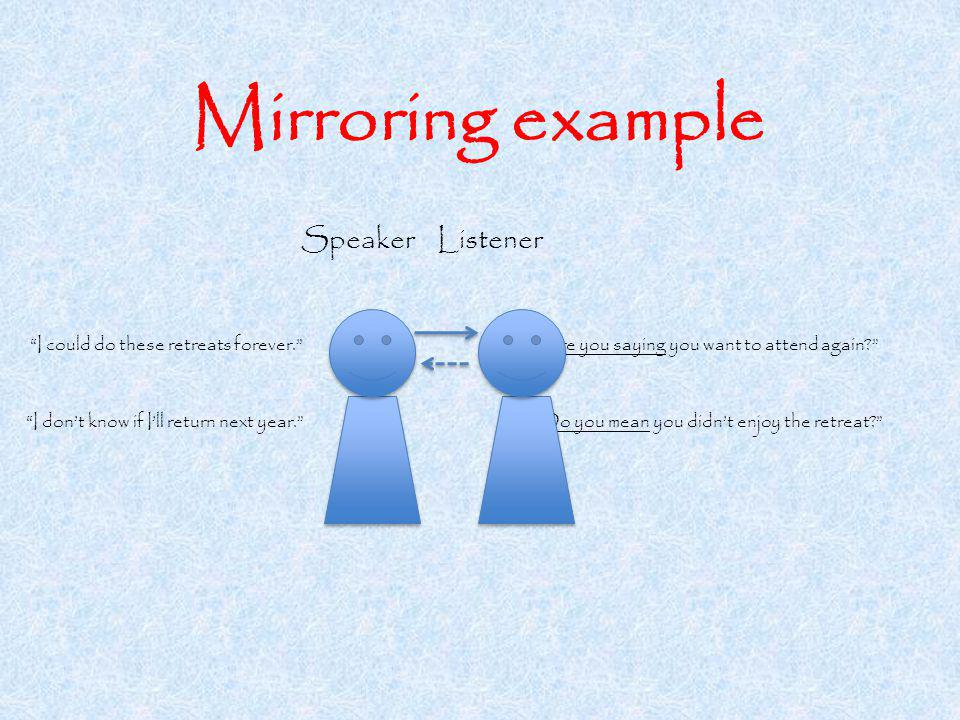 Mirroring example Speaker Listener I could do these retreats forever.