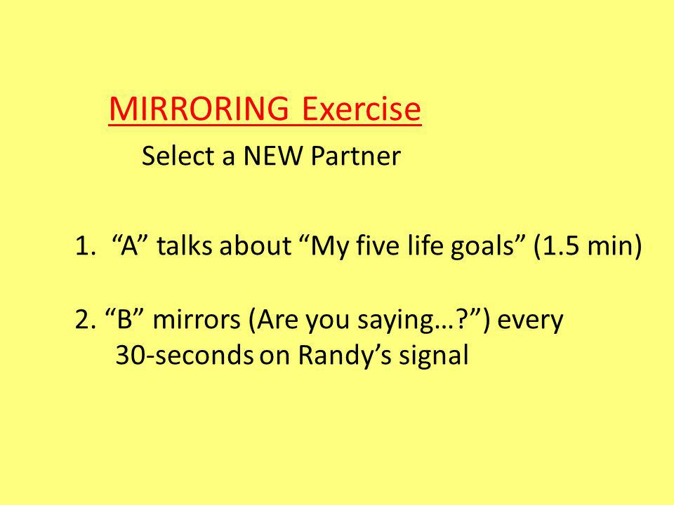 MIRRORING Exercise Select a NEW Partner 1. A talks about My five life goals (1.5 min) 2.