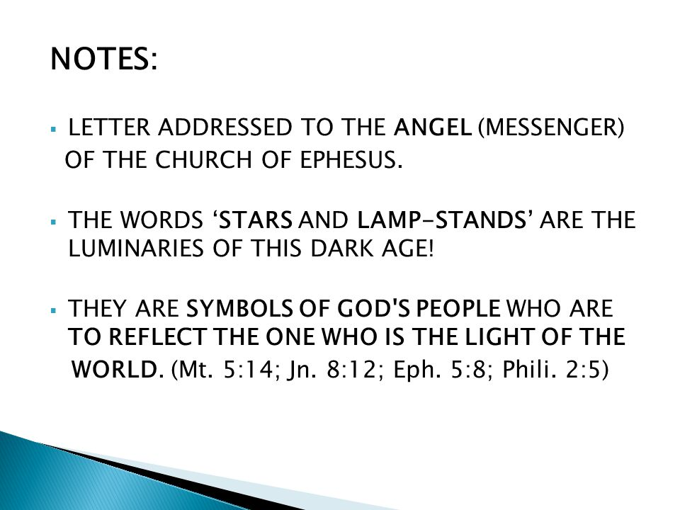 NOTES: LETTER ADDRESSED TO THE ANGEL (MESSENGER) OF THE CHURCH OF EPHESUS.