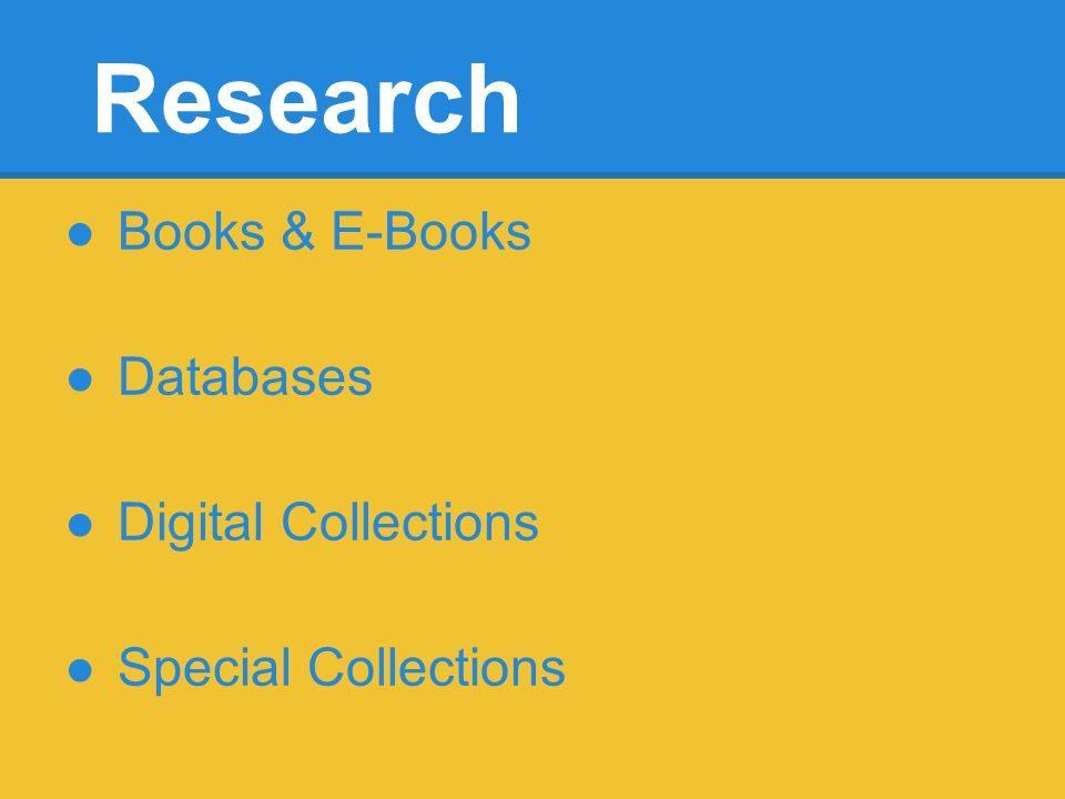 Research Books & E-Books Databases Digital Collections Special Collections