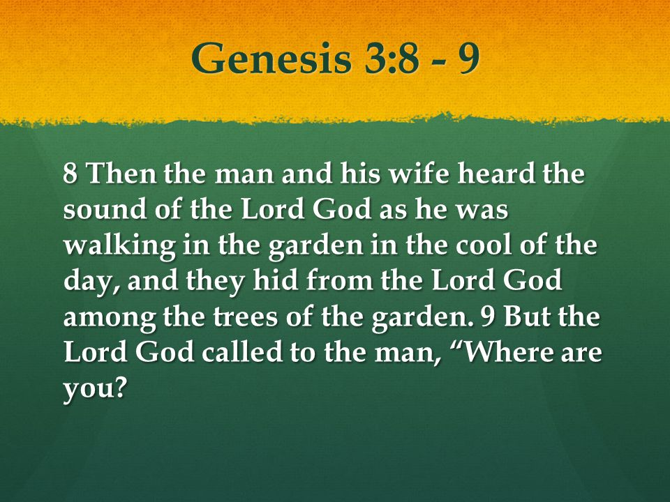 Genesis 3: Then the man and his wife heard the sound of the Lord God as he was walking in the garden in the cool of the day, and they hid from the Lord God among the trees of the garden.