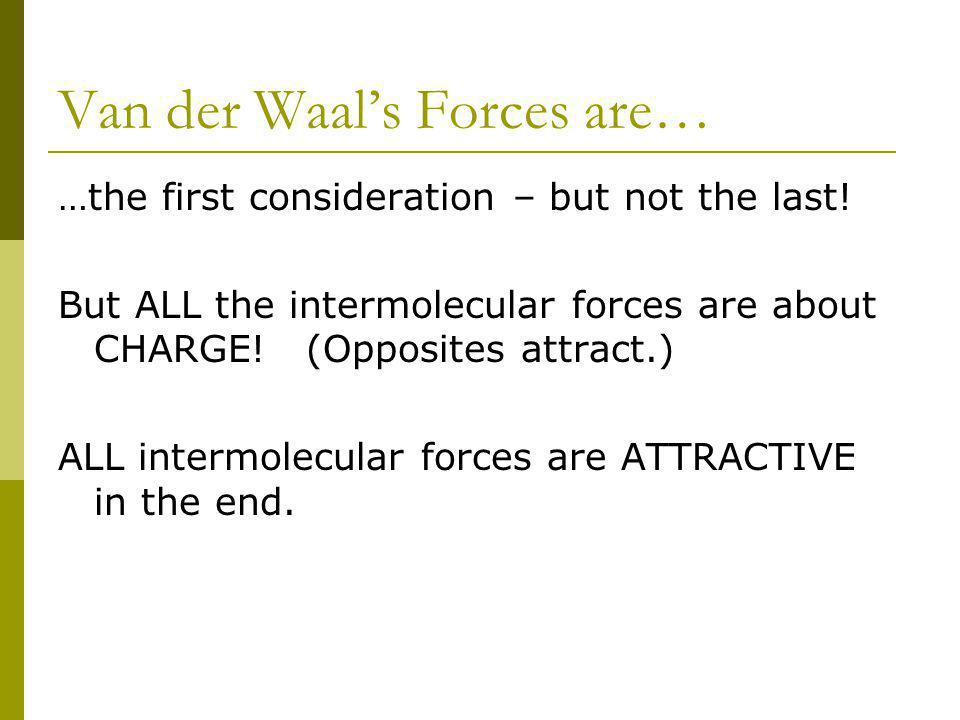 Van der Waals Forces are… …the first consideration – but not the last.