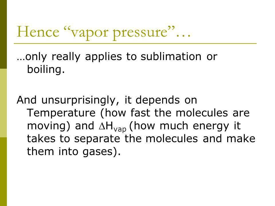 Hence vapor pressure… …only really applies to sublimation or boiling.