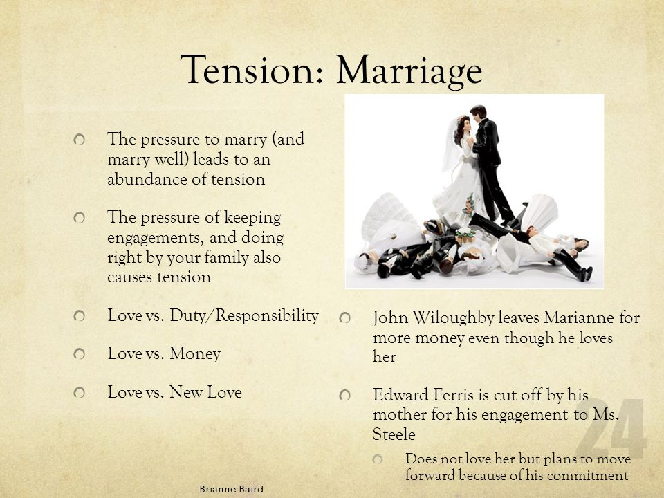Tension: Marriage Brianne Baird John Wiloughby leaves Marianne for more money even though he loves her Edward Ferris is cut off by his mother for his engagement to Ms.
