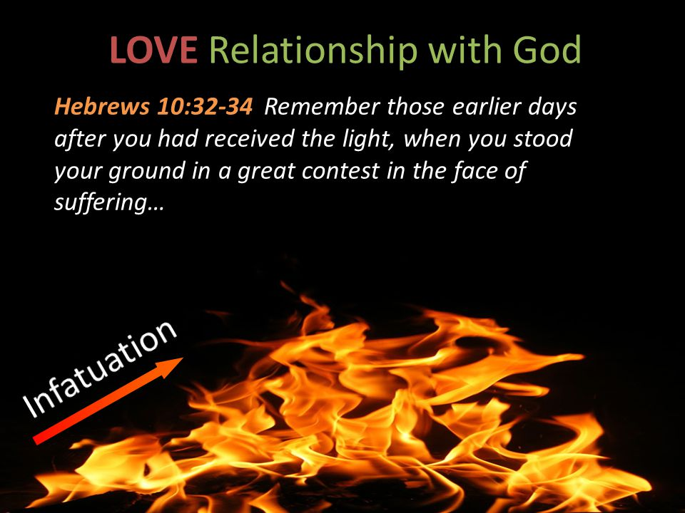 LOVE Relationship with God Hebrews 10:32-34 Remember those earlier days after you had received the light, when you stood your ground in a great contest in the face of suffering…