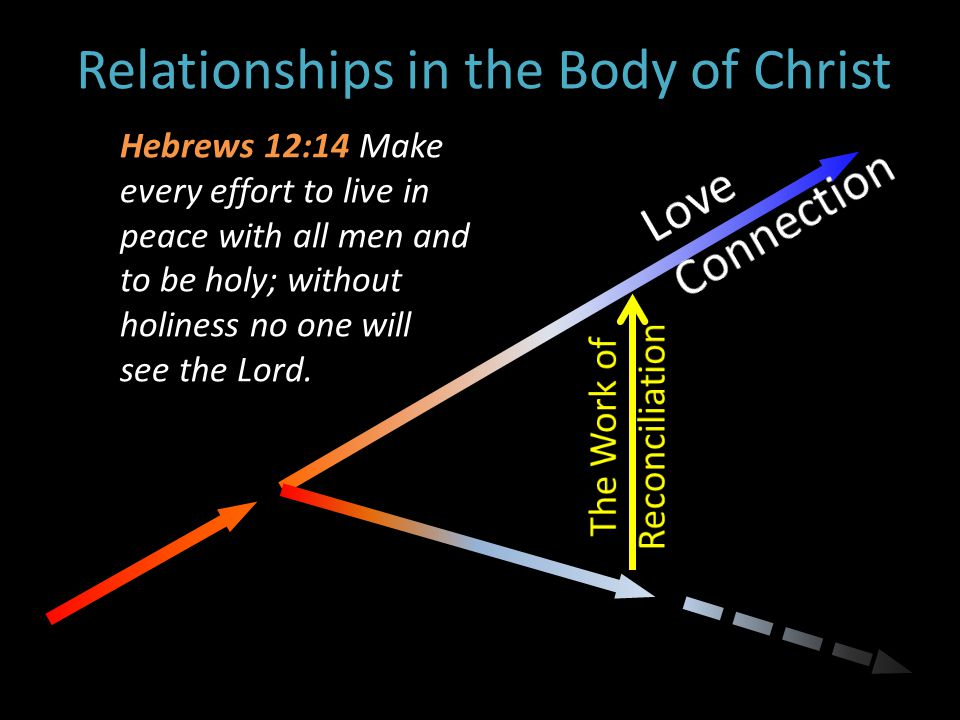 Relationships in the Body of Christ Hebrews 12:14 Make every effort to live in peace with all men and to be holy; without holiness no one will see the Lord.
