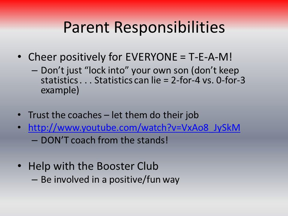 Parent Responsibilities Cheer positively for EVERYONE = T-E-A-M.