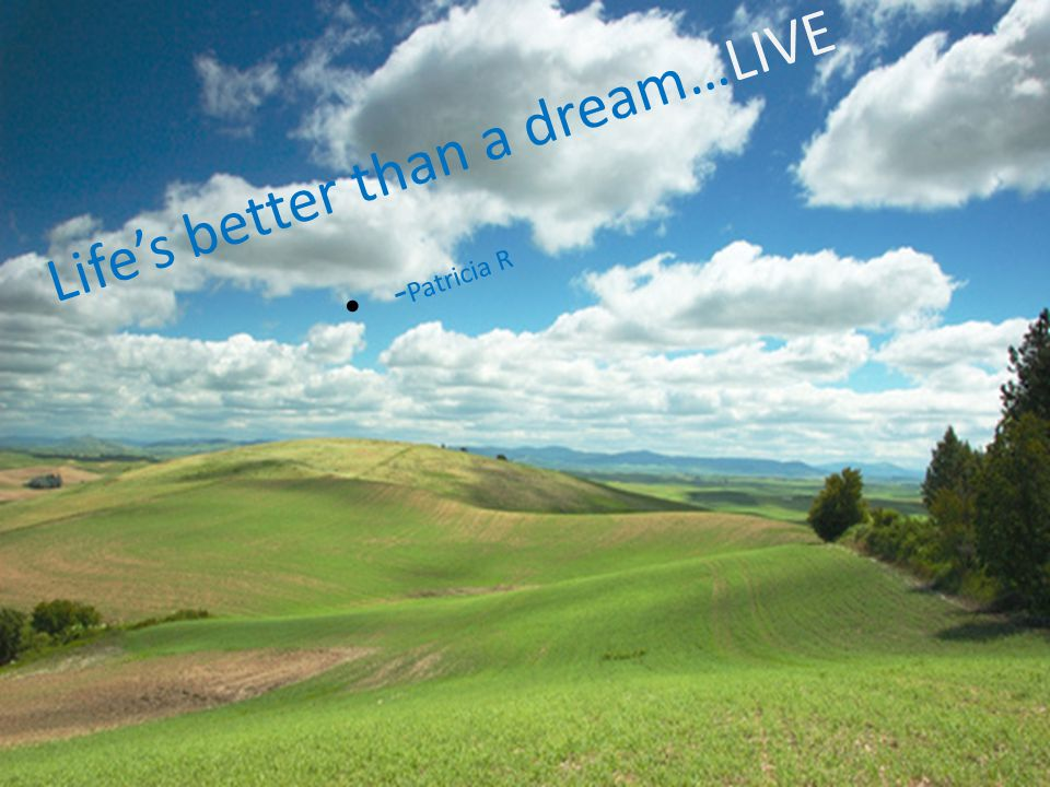 Lifes better than a dream…LIVE - Patricia R