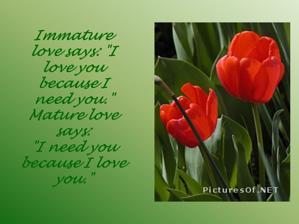 Immature love says: I love you because I need you. Mature love says: I need you because I love you.