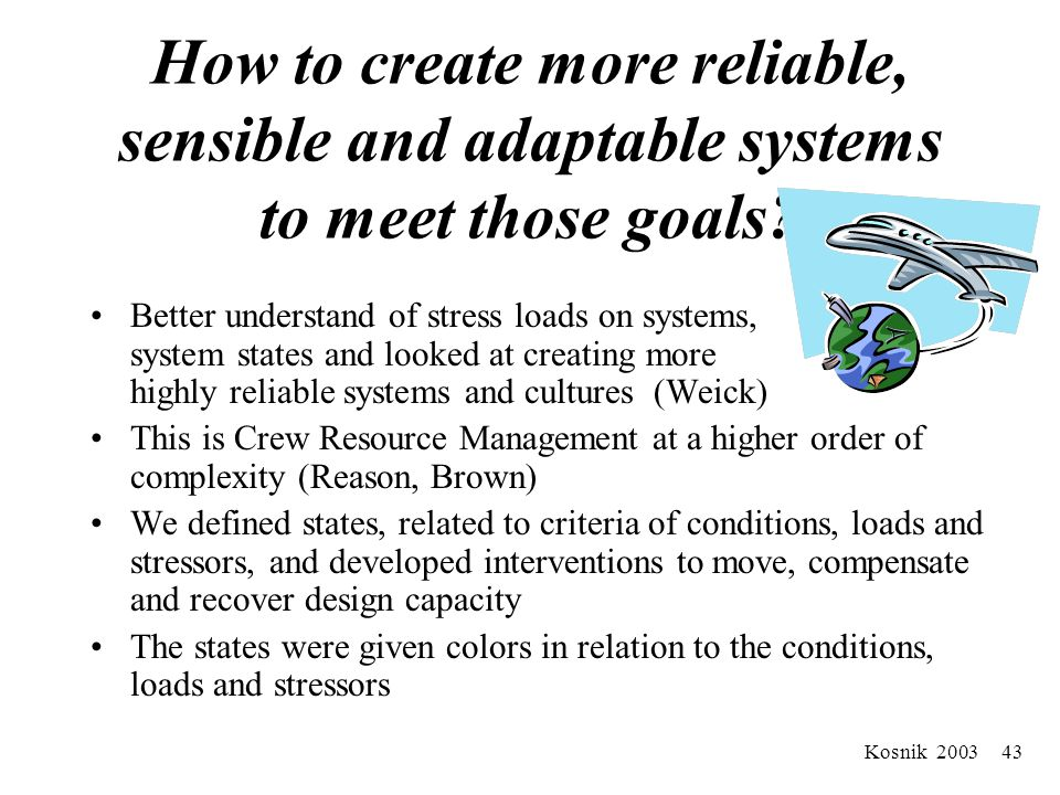 Kosnik 2003 42 Robust Demand Capacity Management Systems Customer Satisfaction –Waits and delays Staff Satisfaction –Recruitment and retention Communication Collaboration –Use of Crew Resource Management Skills –Healthcare providers (Out-Patient/Emergency Department/In-Patient/Support Services) –Administration and leadership Integrated approach to resource management