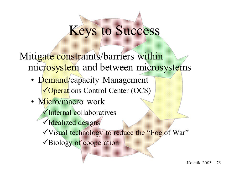 Kosnik 2003 72 Keys to Success Building Trust Goal is embedded predisposition to trust, Identify similar characteristic and goals Experiences of reciprocity Achieved through Microsystem management meeting Retreats Collaborative Initiatives (MIC, Internal idealized design Summits Demand/capacity collaborative Appreciative inquiry.