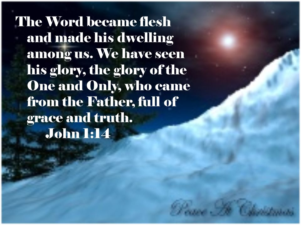 The Word became flesh and made his dwelling among us.