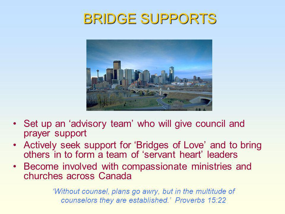 BRIDGE SUPPORTS BRIDGE SUPPORTS Set up an advisory team who will give council and prayer support Actively seek support for Bridges of Love and to bring others in to form a team of servant heart leaders Become involved with compassionate ministries and churches across Canada Without counsel, plans go awry, but in the multitude of counselors they are established.