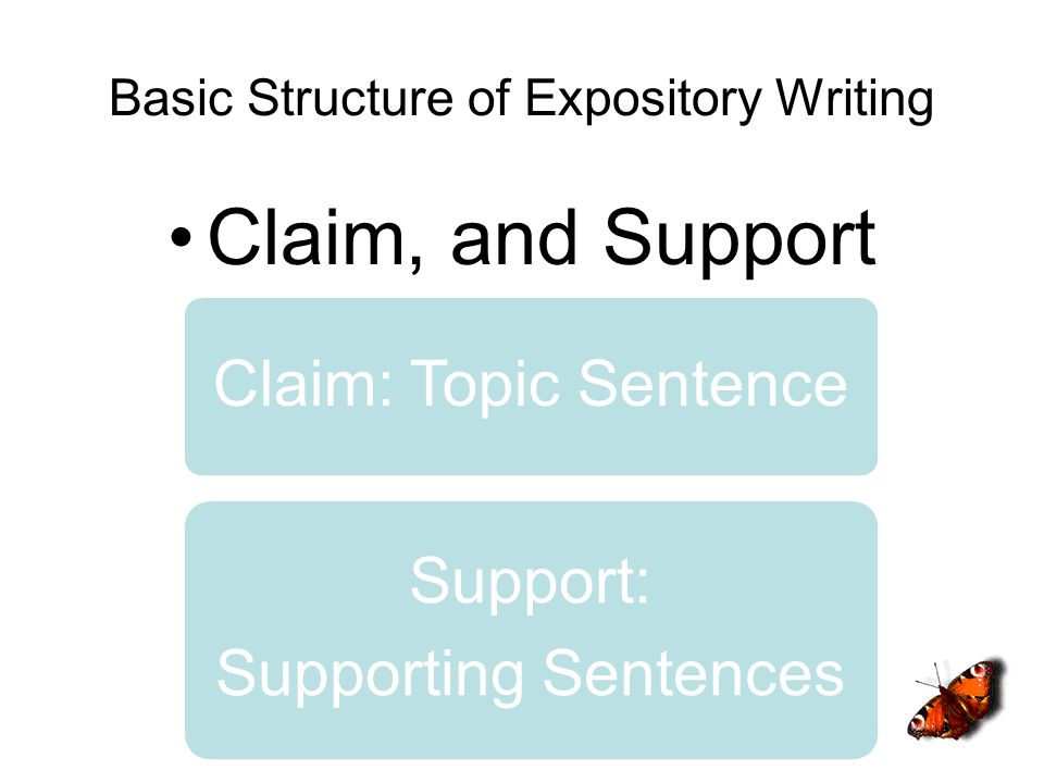 Basic Structure of Expository Writing Claim, and Support Claim: Topic Sentence Support: Supporting Sentences