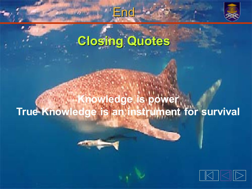 Closing Quotes Knowledge is power True Knowledge is an instrument for survival End