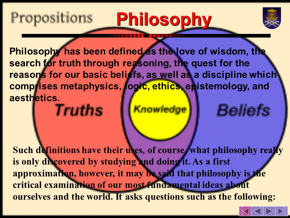 Such definitions have their uses, of course, what philosophy really is only discovered by studying and doing it.