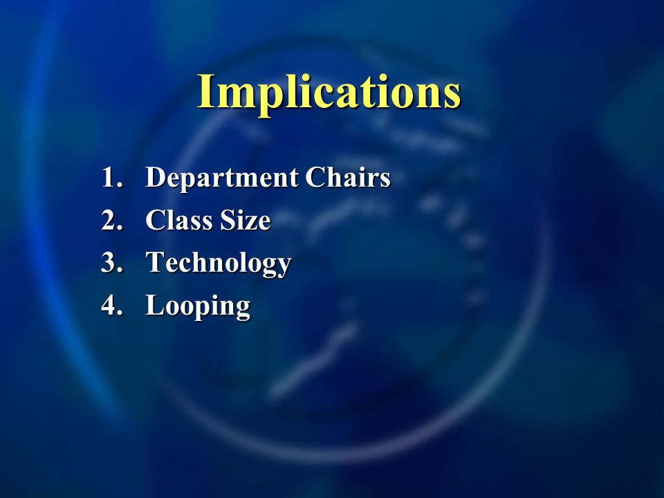 Implications 1.Department Chairs 2.Class Size 3. Technology 4. Looping