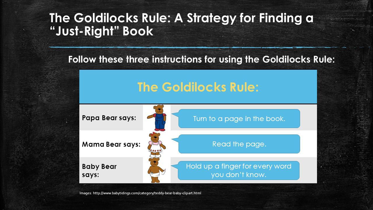 What is a just-right book. Think about the story of Goldilocks and the Three Bears.