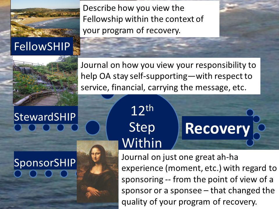 12 th Step Within FellowSHIP StewardSHIP SponsorSHIP Recovery Journal on how you view your responsibility to help OA stay self-supportingwith respect to service, financial, carrying the message, etc.