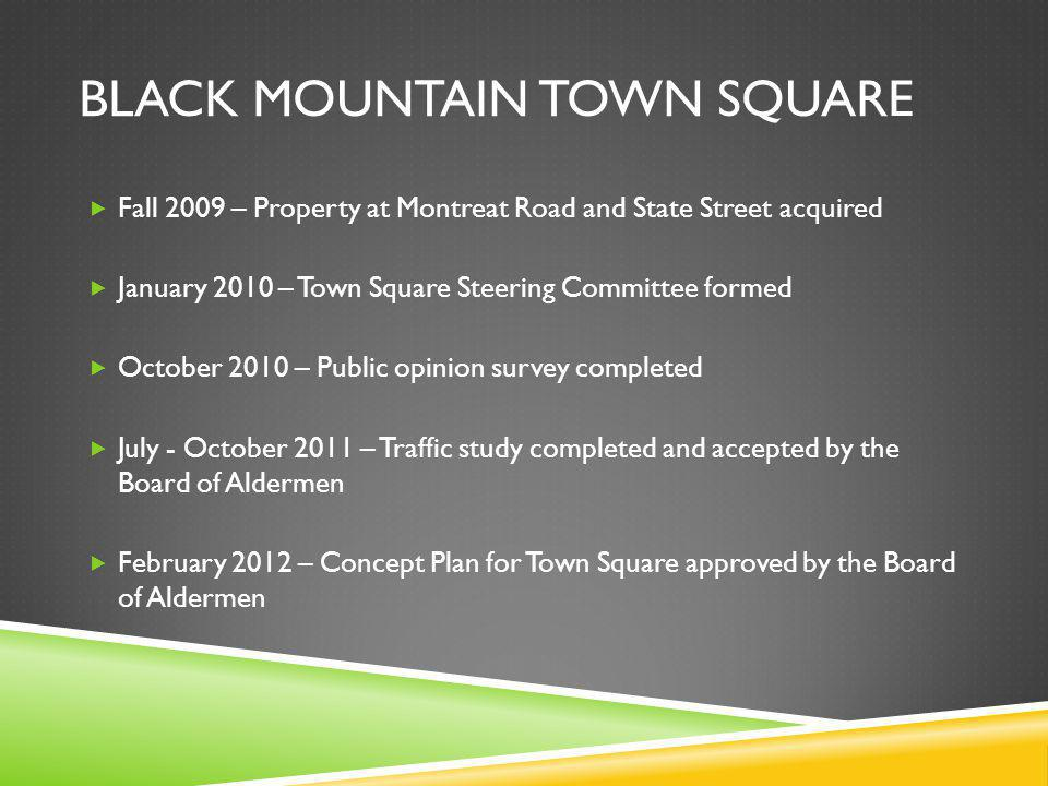 BLACK MOUNTAIN TOWN SQUARE Fall 2009 – Property at Montreat Road and State Street acquired January 2010 – Town Square Steering Committee formed October 2010 – Public opinion survey completed July - October 2011 – Traffic study completed and accepted by the Board of Aldermen February 2012 – Concept Plan for Town Square approved by the Board of Aldermen