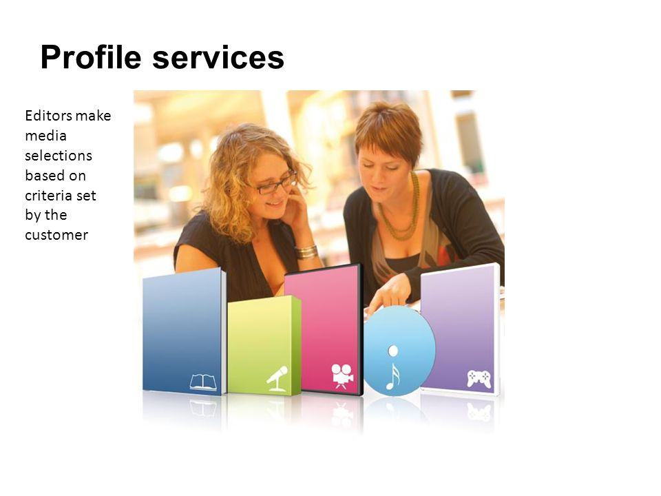 Profile services Editors make media selections based on criteria set by the customer