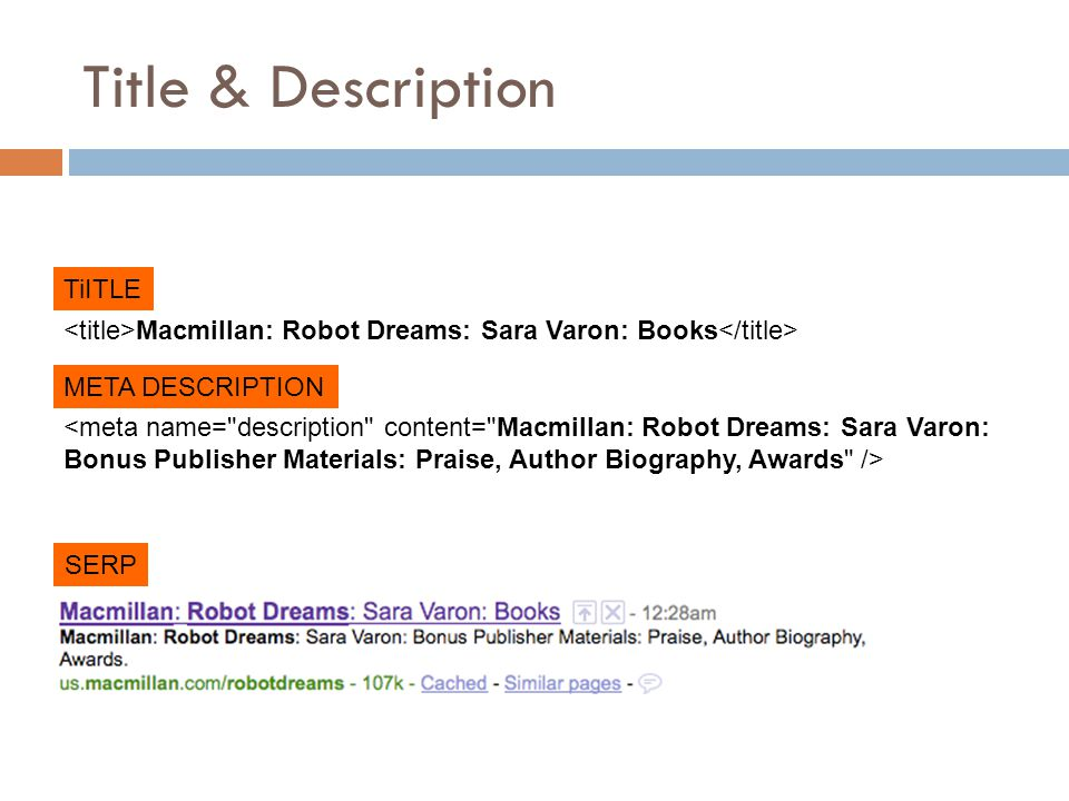 Title & Description Macmillan: Robot Dreams: Sara Varon: Books TiITLE META DESCRIPTION SERP