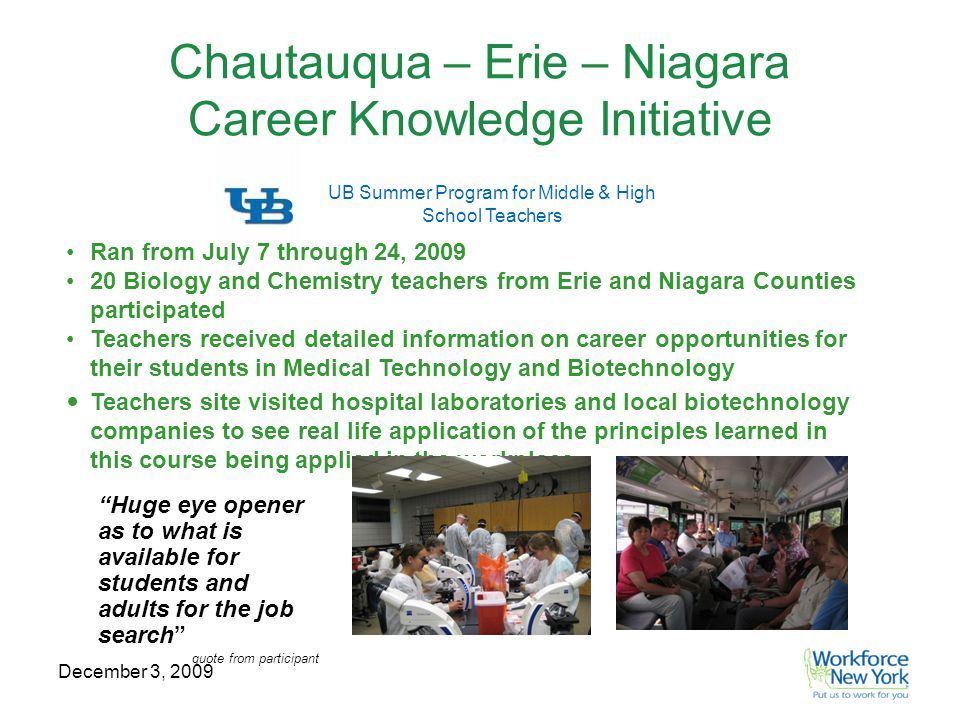 December 3, 2009 Chautauqua – Erie – Niagara Career Knowledge Initiative UB Summer Program for Middle & High School Teachers Ran from July 7 through 24, 2009 20 Biology and Chemistry teachers from Erie and Niagara Counties participated Teachers received detailed information on career opportunities for their students in Medical Technology and Biotechnology Teachers site visited hospital laboratories and local biotechnology companies to see real life application of the principles learned in this course being applied in the workplace Huge eye opener as to what is available for students and adults for the job search quote from participant