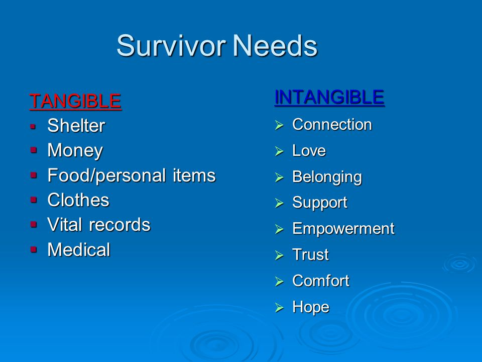 Survivor Needs TANGIBLE Shelter Shelter Money Money Food/personal items Food/personal items Clothes Clothes Vital records Vital records Medical Medical INTANGIBLE Connection Connection Love Love Belonging Belonging Support Support Empowerment Empowerment Trust Trust Comfort Comfort Hope Hope