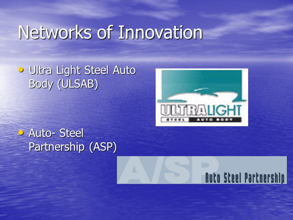 Networks of Innovation Ultra Light Steel Auto Body (ULSAB) Ultra Light Steel Auto Body (ULSAB) Auto- Steel Partnership (ASP) Auto- Steel Partnership (ASP)