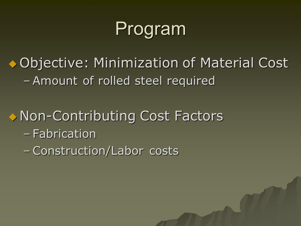 Program Objective: Minimization of Material Cost Objective: Minimization of Material Cost –Amount of rolled steel required Non-Contributing Cost Factors Non-Contributing Cost Factors –Fabrication –Construction/Labor costs