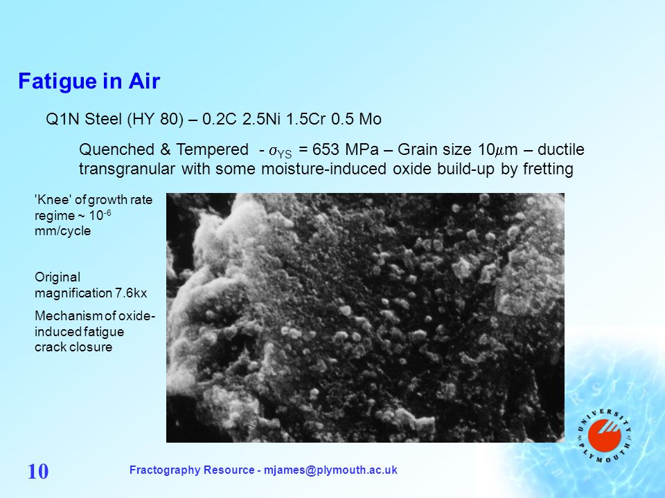 Fractography Resource - mjames@plymouth.ac.uk 10 Fatigue in Air Q1N Steel (HY 80) – 0.2C 2.5Ni 1.5Cr 0.5 Mo Quenched & Tempered - YS = 653 MPa – Grain size 10 m – ductile transgranular with some moisture-induced oxide build-up by fretting Knee of growth rate regime ~ 10 -6 mm/cycle Original magnification 7.6kx Mechanism of oxide- induced fatigue crack closure