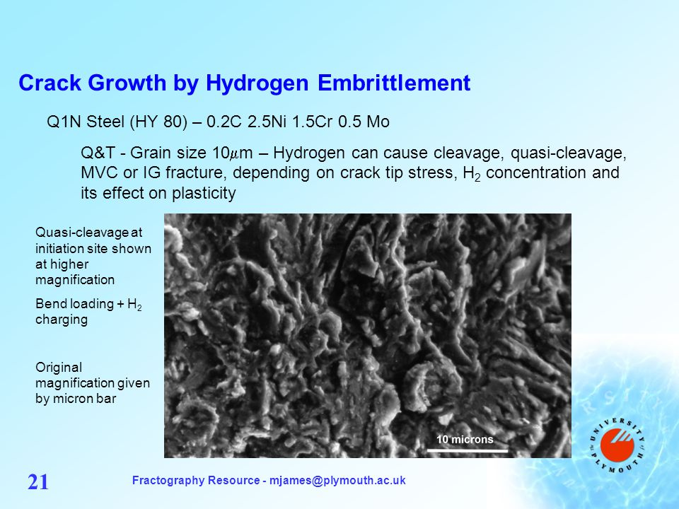 Fractography Resource - mjames@plymouth.ac.uk 21 Crack Growth by Hydrogen Embrittlement Q1N Steel (HY 80) – 0.2C 2.5Ni 1.5Cr 0.5 Mo Q&T - Grain size 10 m – Hydrogen can cause cleavage, quasi-cleavage, MVC or IG fracture, depending on crack tip stress, H 2 concentration and its effect on plasticity Quasi-cleavage at initiation site shown at higher magnification Bend loading + H 2 charging Original magnification given by micron bar
