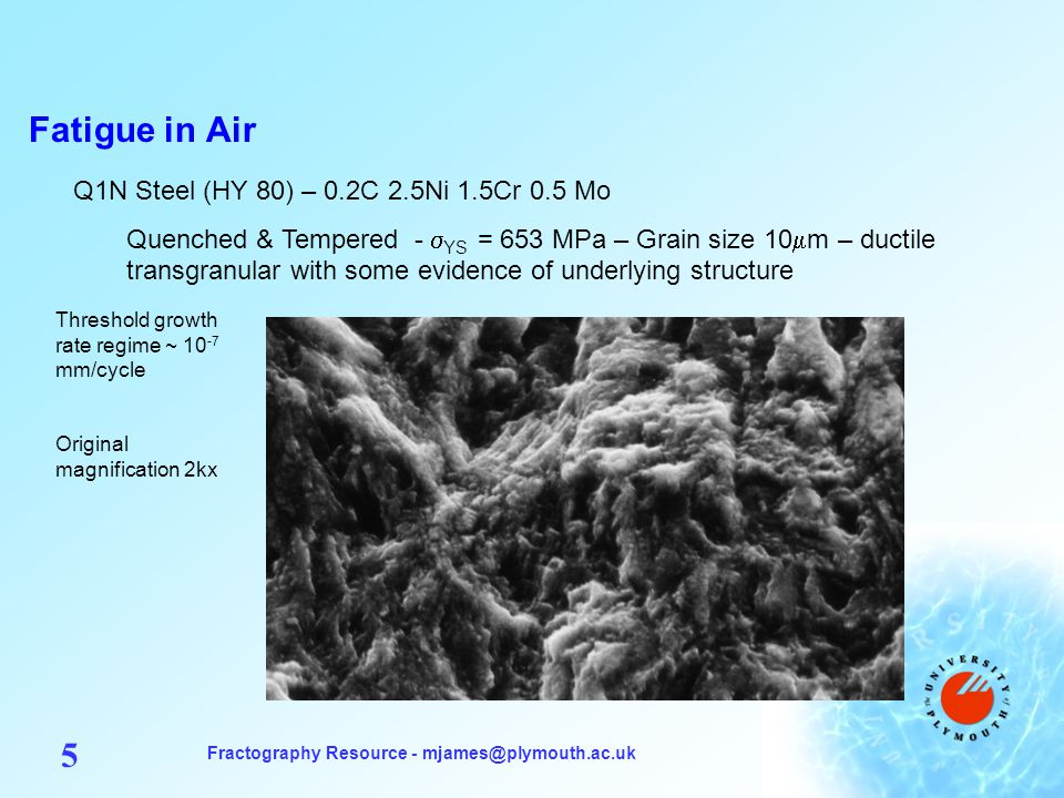 Fractography Resource - mjames@plymouth.ac.uk 5 Fatigue in Air Q1N Steel (HY 80) – 0.2C 2.5Ni 1.5Cr 0.5 Mo Quenched & Tempered - YS = 653 MPa – Grain size 10 m – ductile transgranular with some evidence of underlying structure Threshold growth rate regime ~ 10 -7 mm/cycle Original magnification 2kx