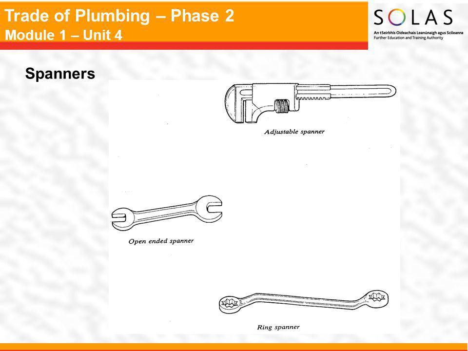 Trade of Plumbing – Phase 2 Module 1 – Unit 4 Spanners