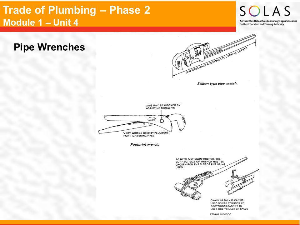 Trade of Plumbing – Phase 2 Module 1 – Unit 4 Pipe Wrenches