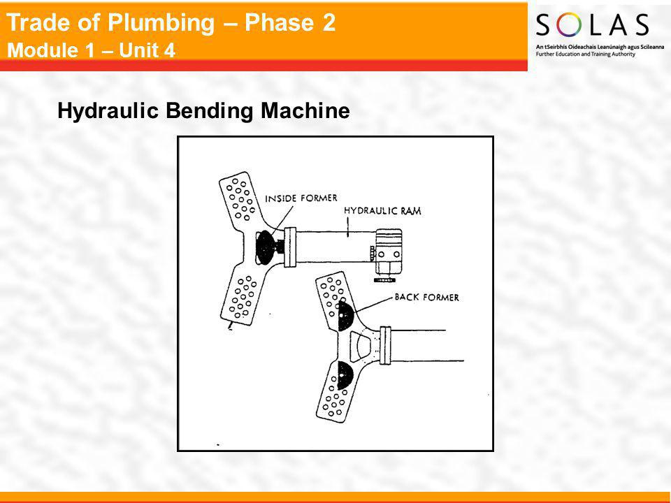 Trade of Plumbing – Phase 2 Module 1 – Unit 4 Hydraulic Bending Machine