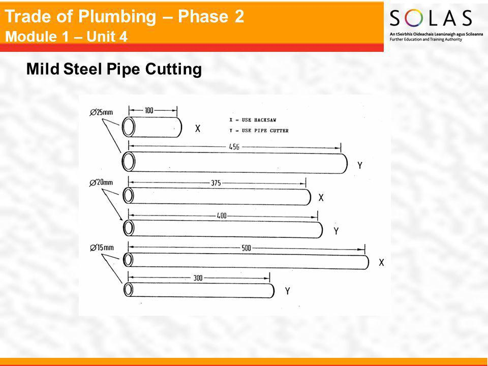 Trade of Plumbing – Phase 2 Module 1 – Unit 4 Mild Steel Pipe Cutting
